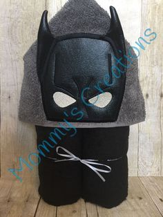 "Bat Hero Applique Hooded Bath Towel, Beach Towel 30"" x 54"" by MommysCraftCreations on Etsy"