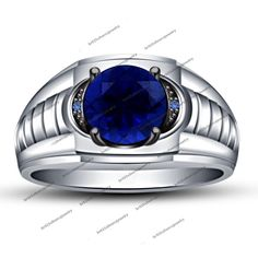 Gents Lab-Created Blue Sapphire 14K White Gold 925 Silver Engagement Men's Ring #br925 #MensWeddingRing #EngagementWeddingAnniversaryPartyBirthdayGift