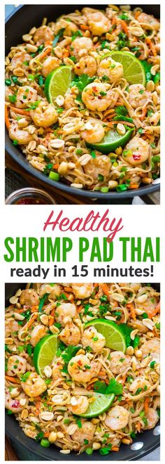 Healthy Shrimp Pad Thai EASY and SO delicious Ready in 15 minutes We couldnt stop eating it Recipe at wellplated gluten free Seafood Recipes, New Recipes, Cooking Recipes, Healthy Recipes, Recipes Dinner, Curry Recipes, Thai Food Recipes Easy, Healthy Chinese Recipes, Recipies