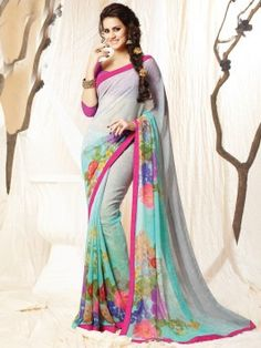 Grey And Blue Georgette Saree With Lace Border