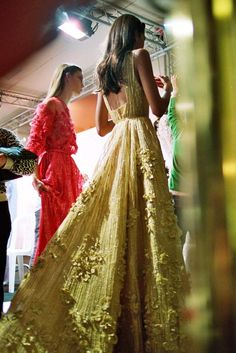 Backstage at Elie Saab Spring/Summer 2014 Couture at Paris Fashion Week.