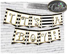 Baby shower BANNER decoration printable with black stripes color theme, glitter all letters, digital files, Jpg Pdf, instant download - bs001 #babyshowergames #babyshowerdecorations