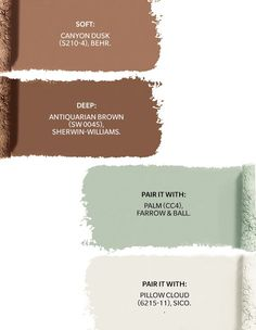 Soft: Canyon Dusk (S210-4) by Behr. Deep: Antiquarian Brown (SW 0045) by Sherwin-Williams. Pair It With: Palm (CC4) by Farrow & Ball. Pair It With: Pillow Cloud (6215-11) by Sico. Tufted Couch, Behr Paint Colors, Oak Panels, Scandinavian Furniture, Farrow Ball, Brown Rug, Architecture Details, Perfect Place, Earthy