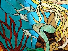 Praying mermaid stained glass window @Season Weaver Weaver Scheirer at Home St.louis