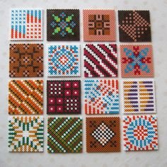 Hama bead tiles by Villi. Hama Beads Coasters, Diy Perler Beads, Perler Bead Art, Pearler Beads, Perler Bead Designs, Pearler Bead Patterns, Perler Patterns, Alice In Wonderland Cross Stitch, Pixel Beads