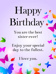Rainbow Butterflies Happy Birthday Wishes Card for Sister