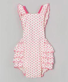 Look at this #zulilyfind! Pink & White Polka Dot Bubble Romper - Infant #zulilyfinds