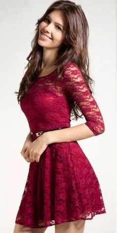 Cupshe Love Her Elegance Belted Lace Dress Vestidos Vintage Retro, Retro Vintage Dresses, Mod Dress, Dress Skirt, Dress Red, Sheer Dress, Lengha Dress, Maroon Dress, Shirt Skirt
