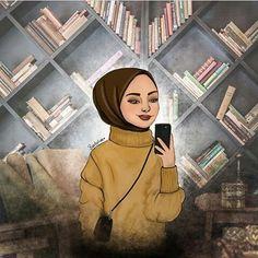 Girl Cartoon, Cartoon Art, Hijab Drawing, Hijab Cartoon, Islamic Girl, Art Antique, Summer Wallpaper, Muslim Girls, Illustration Girl