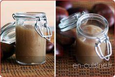 Recette crème de marrons vanillée maison au Thermomix 600 g de châtaignes (sans peau) 600 g de sucre semoule 300 g d'eau 1 cc d'extrait de vanille