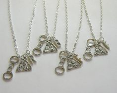 Items similar to 4 Pizza Handcuff Partner In Crime Initial Best Friends Necklaces, 4 Best Friends, 4 Best Friends Necklaces, 4 BFF Necklaces, Pizza Necklaces on Etsy Bff Necklaces, Bracelets, Barbie Camper, Jewelry Boards, Partners In Crime, Initials, Pizza, Gift Ideas, Chain
