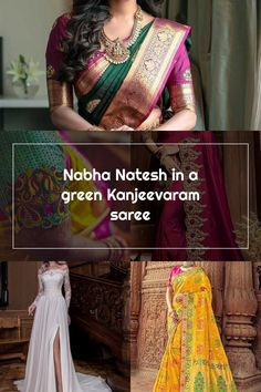 nabha natesh green kanjeevaram saree by rs brothers 3 Wedding Sarees, Sari, Green, Fashion, Saree, Moda, Fashion Styles, Fashion Illustrations, Fashion Models