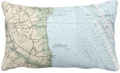 Deleware. Dover Nautical Chart Lumbar Pillow