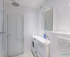 Ljust badrum och tvättstuga - Dåderman kök och badrum Washer And Dryer, Washing Machine, Laundry, Home Appliances, Small Bathrooms, Google, Style, Home, Bathroom Small