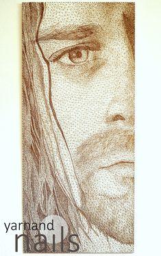 string art nr. 42 106 x 47 cm portrait: Kurt Cobain/ Nirvana over 5000 nails about 700 m yarn 50 hours of work