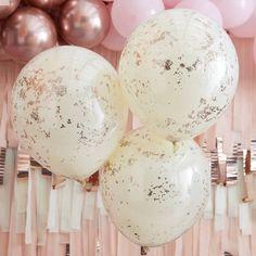 Hen Party Balloons, 1st Birthday Balloons, Bridal Shower Balloons, Wedding Balloons, Gold Birthday, Gold Confetti Balloons, Glitter Confetti, Pink Balloons, Confetti