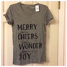 J. Crew Factory holiday tee Bring the cheer in a NWT tee that says happiness with many words! J. Crew Tops Tees - Short Sleeve