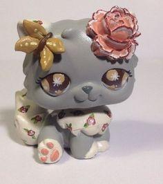 HobbyMomCustoms Littlest pet shop Cat  * Vintage Rose Kitty * Custom Hand Painted LPS OOAK #Hasbro