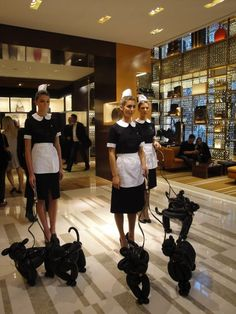 Maids that do dog walking services at luxury hotels.