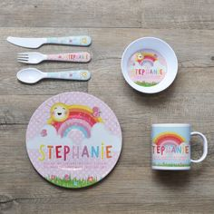 Baby Collection Here Baby Feeding Bowls Wheat Fiber Ultimate Set Fork Spoon And Cup Dinosaur.