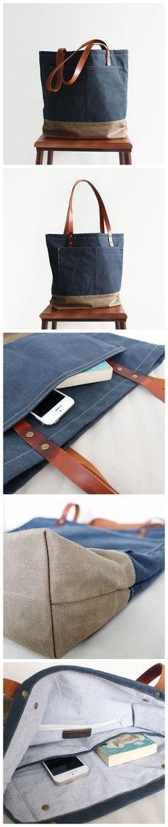 Handcrafted Canvas Tote Bag Women's Fashion Bag Shopper Bag Handbag 14047 --------------------------------- - 16oz waxed canvas - Cotton lining - Inside one zipper pocket, one phone pocket, one wallet