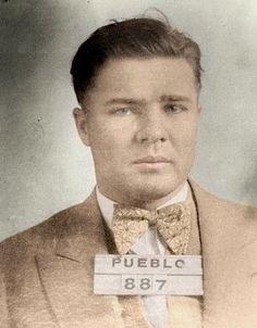 Pretty Boy Floyd mugshot (colorized by Chuck Flynn) (1930)