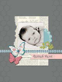 Scrapbook layout by Rochelle Gould Scrapbook Bebe, Baby Girl Scrapbook, Baby Scrapbook Pages, Scrapbook Designs, Scrapbook Sketches, Scrapbook Page Layouts, Scrapbook Cards, Scrapbook Templates, Yearbook Layouts
