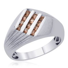 Liquidation Channel | Jenipapo Andalusite Men's Ring in Platinum Overlay Sterling Silver (Nickel Free)