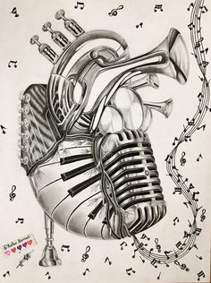 Art of music music heart, heart art, composition art, music painting, music tatto Music Drawings, Tattoo Drawings, Art Drawings, Pencil Drawings, Music Tattoo Designs, Music Tattoos, Music Heart, Heart Art, Music Painting