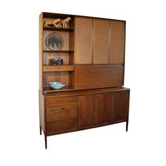 Image of Drexel Mid-Century Modern Credenza and Hutch
