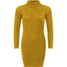 WearAll Cable Knit Polo Neck Jumper Dress ($31) ❤ liked on Polyvore featuring dresses, mustard, yellow dress, yellow turtleneck, long sleeve turtleneck top, mustard yellow dress and bodycon dress
