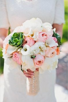 romantic pink and succulent bouquet see more of this Los Angeles temple wedding http://www.weddingchicks.com/2013/08/16/rustic-chic-wedding-2/