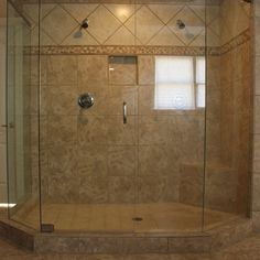 More than 2 sides of glass....Bathroom  Remodelling Bathroom Ideas With Large Glass Shower Door Plus Brown Tiles Wall Or Floor Feat Twin Shower Heads Thoughtful Home Desi...