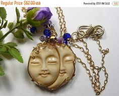 20% off sale, already reduced from the original price. No coupon needed. Buy 2 or more cabs or 2 or more wire wrap pendants and get an extra 10% off, refund returned after purchase. Buy 3 or more cabs and get a free cab, our choice.   This whimsical fun to wear large carved double Sun/Moon Face pendant. It was carved in India from Ox bone and wrapped by Shirl using 14kgf wire. Her handmade 20 14kgf wire chain with faceted glass beads makes it a gorgeous necklace to wear. You will have fun…