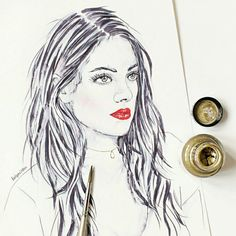 Drawing with black and gold ink. Girl with red lipstick.