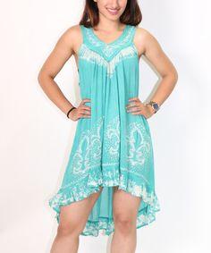 Loving this Green Fleur-de-Lis Hi-Low Dress - Women on #zulily! #zulilyfinds