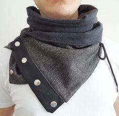 Multifunctional Gray and Black Adjustable hood cowl scarf unisex by flowerdeco