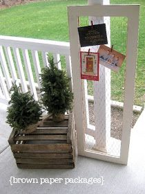 brown paper packages: {chicken wire framed christmas card holder}