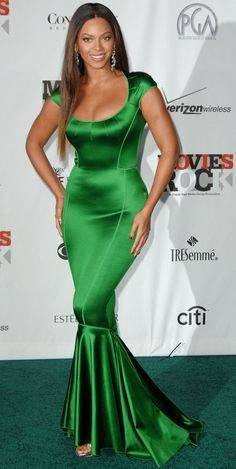style inspiration:  Beyonce in green satin gown dress. Danggggg