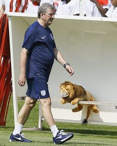 Hodgson pictured walking past the team's unofficial mascot - a stuffed toy lion - as the England manager took training