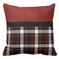 Beautiful Retro Black Red & White Plaid Throw Pillow