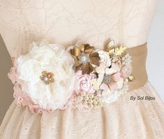Wedding Sash, Ivory, Blush, Tan, Beige, Champagne, Gold, Bridal, Brooches, Feathers, Crystals, Pearls, Vintage Style, Gatsby #wedding #accessories #sash #lace #flower #pearls #tule #vintage #gatsby #pink