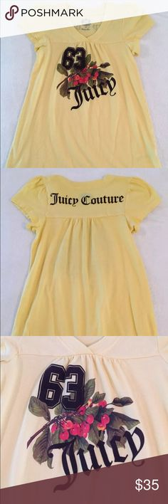 "NWOT JUICY COUTURE Graphic Tee w/ Ruffle Sleeves JUICY COUTURE Women's Graphic Tee with Ruffle Sleeves in Yellow - Size Small  This is NEW without tags...but I did wash it once since it's been in storage for a little while.  100% Cotton - So comfy! Very soft!   Authentic. Adorable graphic design on front with ""63 Juicy"" and cute cherries! 63 Juicy on the front and Juicy Couture on the back are both in felt. So cute! You don't want to pass this one up! Juicy Couture Tops Tees - Short Sleeve"