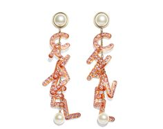 Earrings Metal, Glass Pearls, Strass & Resin Gold, pearly white, orange & pink - view 1 - see full sized version Chanel Costume Jewelry, Chanel Jewelry, Jewelery, Jewelry Accessories, Fashion Accessories, Fashion Jewelry, Cheap Accessories, Trendy Jewelry, Leather Jewelry
