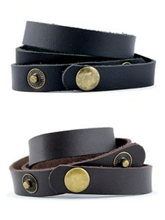 Leather Wrist Cuff at Peggy Li Creations. Clean, simple leather wrap bracelets have a great equestrian vibe to them.