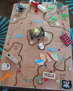 """C"" is for Crafty: Homeade Pirate Board Game ((( AWESOME! ))) You are in the right place about Board Games card Here we offer you the most beautiful pictures about the Board Games printable you are Pirate Day, Pirate Birthday, Pirate Theme, Boat Crafts, Pirate Crafts, Pirate Activities, Activities For Kids, Map Activities, Anniversaire Cow-boy"