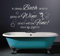 Deep Bath Glass Of Wine Quote ,Bathroom Wall Art Sticker, Decal, Graphic Bath Quotes, Bathroom Quotes, Bathroom Wall Art, Bathroom Signs, Bathroom Ideas, Glass Of Wine Quotes, Wall Sticker, Wall Decals, Dream Bath