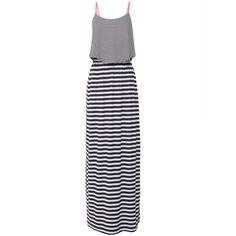 Vestido longo listras - preto e branco