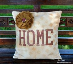 """I enjoy making pillows. Especially when it's a quick and easy """"no sew"""" pillow with a twist. How about a little misting and stenciling with Tattered Angels Glimmer Mists? Burlap Pillows, Sewing Pillows, Decorative Pillows, Throw Pillows, Plain Canvas, Iron On Letters, Creative Workshop, Decoration, Mists"""