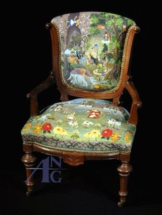 Alice in Wonderland-themed needlepoint chair. Amazing project!